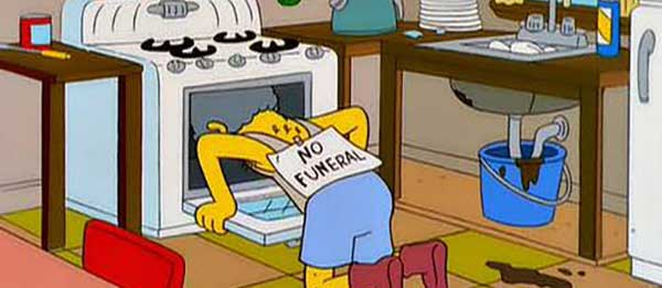 Simpsons: Moe with his head in the oven