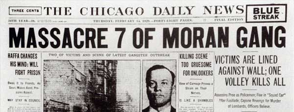 Chicago Daily News Headline from Feb 14th, 1929.
