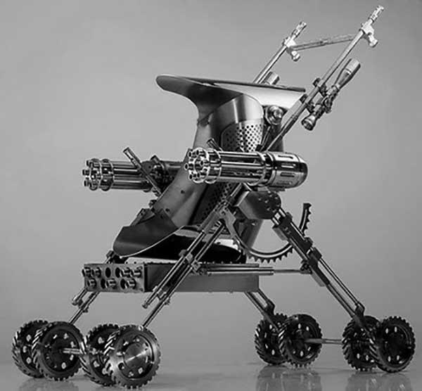 Armed baby stroller.