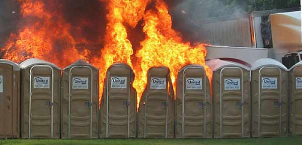Porta-potty fire