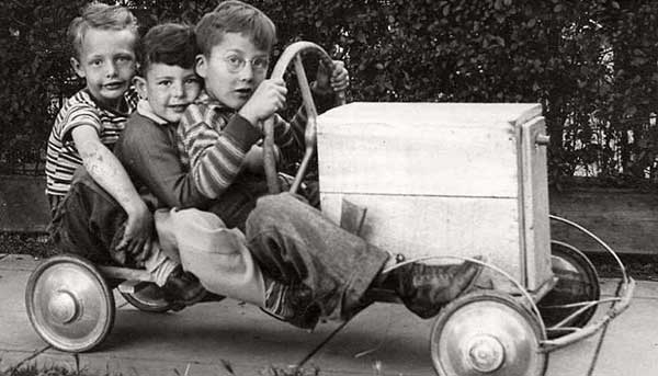 Kids on a pedal car